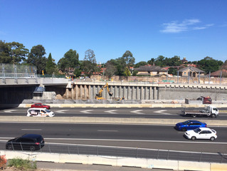 Piling works to King Georges Road interchange upgrade M5 East