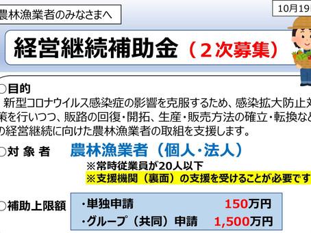 経営持続補助金(2次募集)のお知らせ