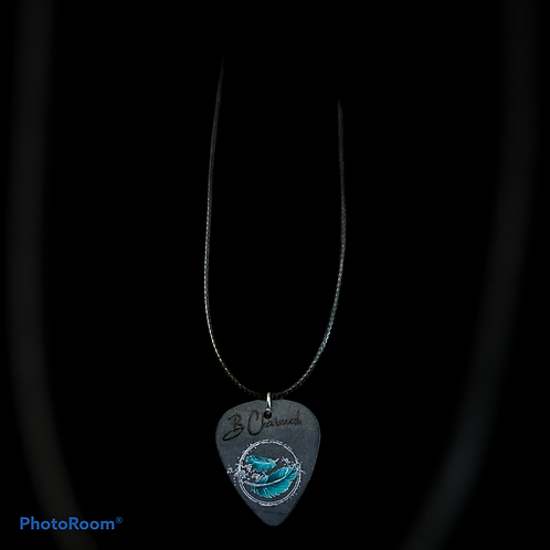 Guitar Pick Necklace with black rope