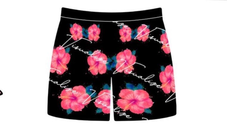 "Visualize ""Hibiscus"" Swim Shorts"