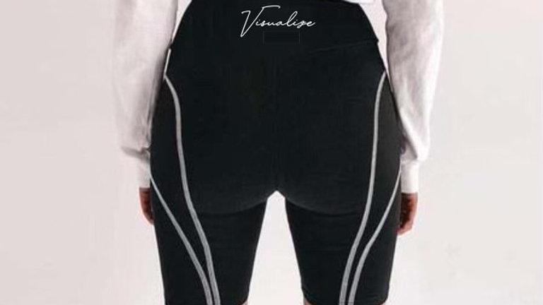 "Visualize ""Thunder Lighting"" Black Reflective Biker Shorts"