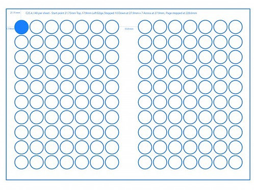 SRA3 Digital Sheets 25mm Circles 140UP Gloss or Matt