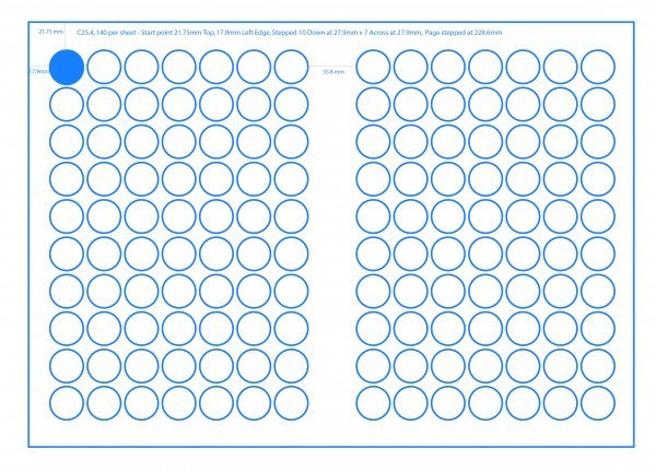 SRA3 Digital Sheets 25mm Circles 140UP Gloss or Matt