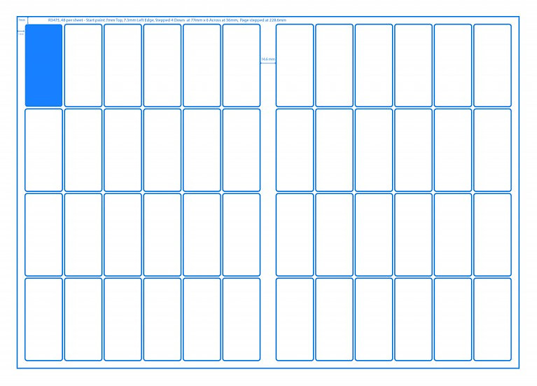 SRA3 Digital Sheets 34x75mm Rectangle 48UP Gloss or Matt