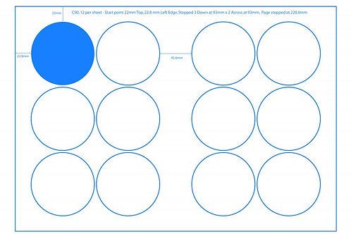 SRA3 Digital Sheets 90mm Circles 12UP Gloss or Matt