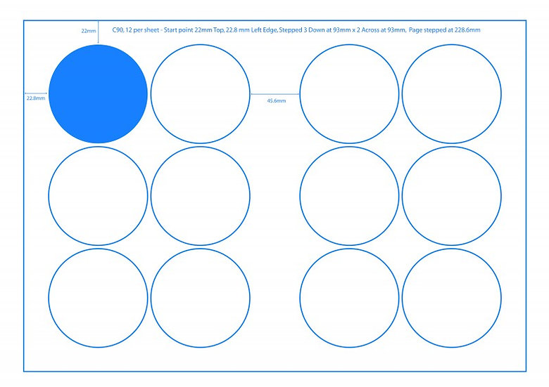 SRA3 Digital Sheets 90mm Circles 12UP Gloss or Matt