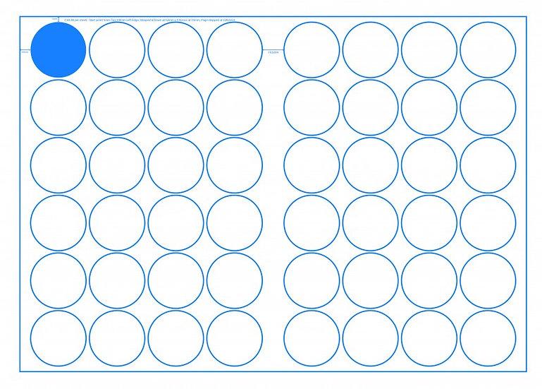 SRA3 Digital Sheets 50mm Circles 48UP Gloss or Matt