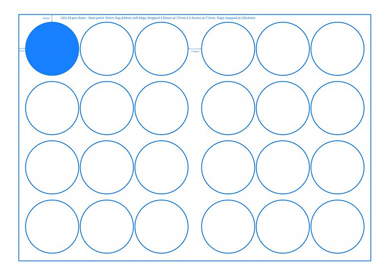 SRA3 Digital Sheets 69mm Circles 24UP Gloss or Matt