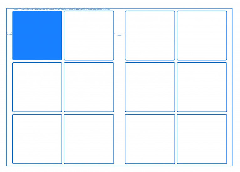 SRA3 Digital Sheets100X100mm Square 12UP Gloss or Matt