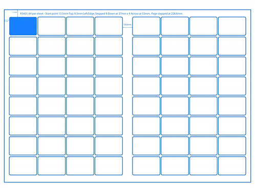 SRA3 Digital Sheets 34x51mm Rectangle 64UP Gloss or Matt