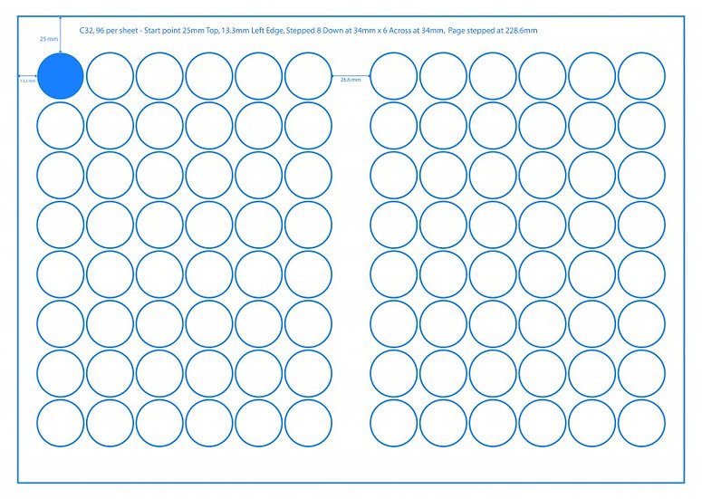 SRA3 Digital Sheets 32mm Circles 96UP Gloss or Matt