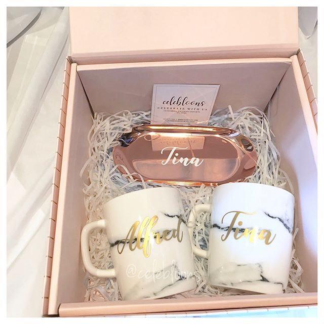 Customised Keepsake Box with Customised Marble Mugs and Rose Gold Trinket  Tray | celebloons