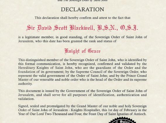 Knighthood Declaration