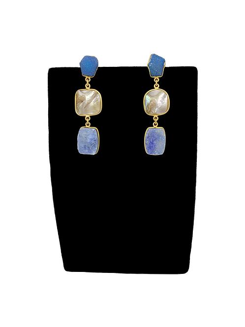 Ocean blue druzy earrings