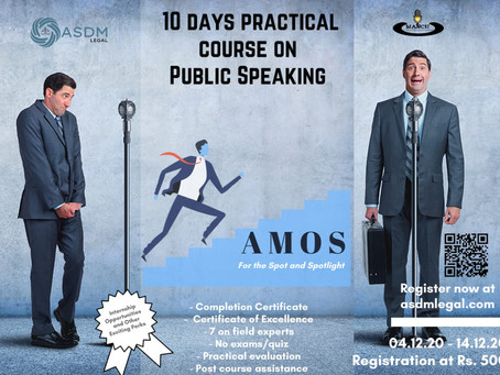 ASDM LEGAL PRESENTS ART OF MESSING ON STAGE-A PRACTICAL CAPSULE COURSE ON PUBLIC SPEAKING