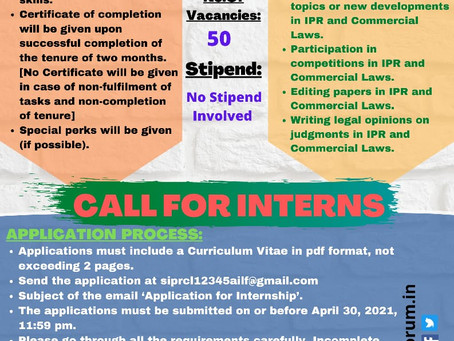 SCHOOL OF IPR AND COMMERCIAL LAWS- CALL FOR INTERNS