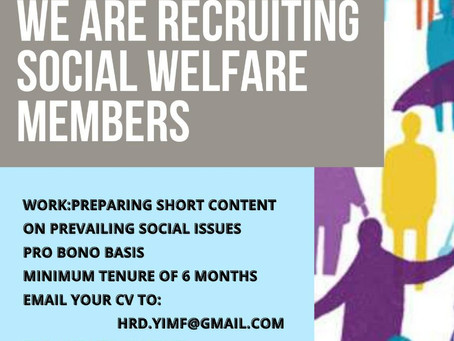 CALL FOR SOCIAL WELFARE MEMBERS BY YOUNG IGNITED MINDS FOUNDTION