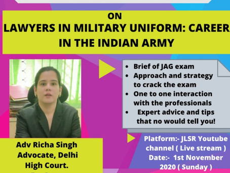 """WEBINAR ON """"LAWYERS IN MILITARY UNIFORM: CAREER IN THE INDIAN ARMY"""":  REGISTER NOW!!!"""