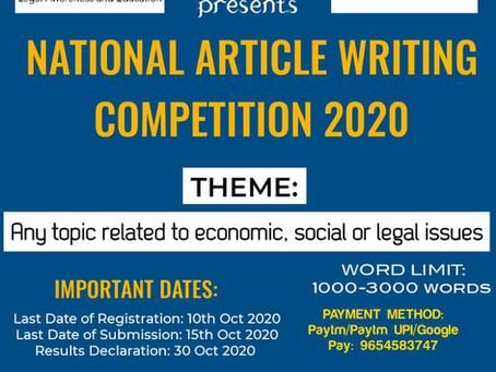 National Article Writing Competition 2020 by LEXSYNDICATE in association with TYT PARTNERS Advocates