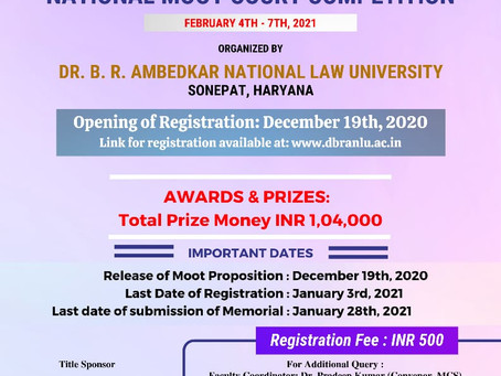 LATE LALA DIP CHAND MEMORIAL NATIONAL MOOT COURT COMPETITION, 2021