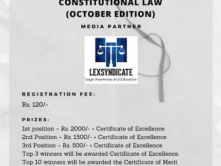 NATIONAL ONLINE QUIZ COMPETITION BY LEGUM CONSTRATUM ONCONSTITUTIONAL LAW (OCTOBER EDITION)