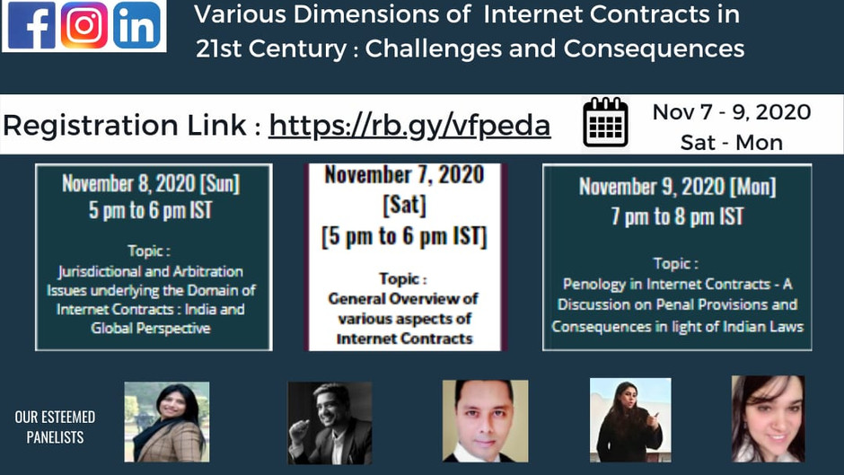 """WEBINAR ON """"VARIOUS DIMENSIONS OF INTERNET CONTRACTS IN 21ST CENTURY : CHALLENGES AND CONSEQUENCES"""""""