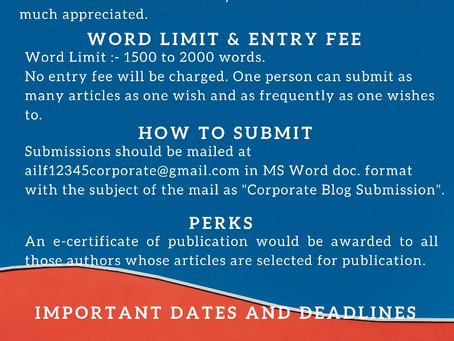 CALL FOR BLOGS - CORPORATE LAW BOARD OF ALL INDIA LEGAL FORUM