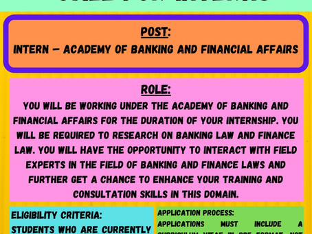 ACADEMY OF BANKING AND FINANCIAL AFFAIRS - CALL FOR INTERNS