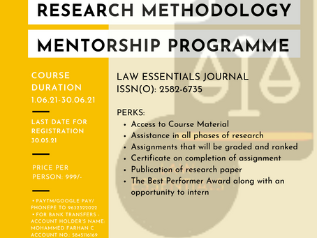 2ND RESEARCH METHODOLOGY MENTORSHIP PROGRAMME BY LAW ESSENTIALS JOURNAL (ISSN(O): 2582-6735)