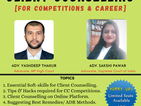 """MASTER CLASS ON """"CLIENT COUNSELLING"""" BY LEGAL FINISHING SCHOOL & JLSR JOURNAL: REGISTER NOW!!"""
