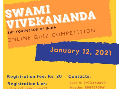 """ONLINE QUIZ CONTEST ON """"SWAMI VIVEKANAND: THE YOUTH ICON OF INDIA"""""""
