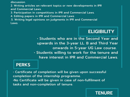 CALL FOR INTERNS SCHOOL OF IPR AND COMMERCIAL LAWS