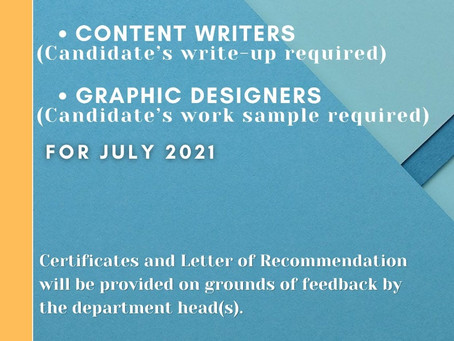 CALL FOR CONTENT WRITERS AND GRAPHICS DESIGNER