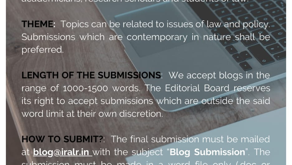 CALL FOR BLOGS - THE INDIAN REVIEW OF ADVANCED LEGAL RESEARCH