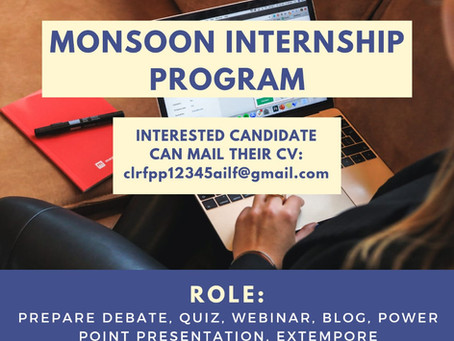 THE CENTRE FOR LEGAL RESEARCH, FOREIGN AND PUBLIC POLICY MONSOON INTERNSHIP PROGRAMME