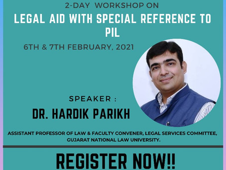 """2 DAY WORKSHOP ON """"LEGAL AID WITH SPECIAL REFERENCE TO PIL""""BY BEING LAWGICAL & JLSR : REGISTER NOW !"""