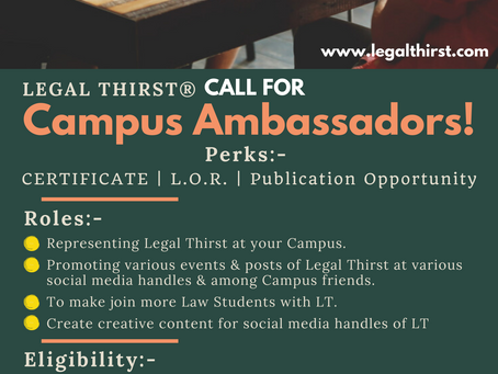 CALL FOR CAMPUS AMBASSADORS - LEGAL THIRST
