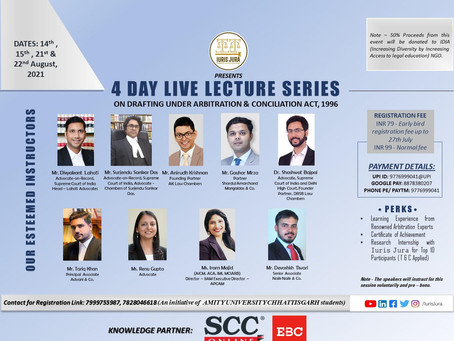 """IURIS JURA'S ONLINE LECTURE SERIES ON """"DRAFTING OF PLEADINGS UNDER ARBITRATION & CONCILIATION ACT"""