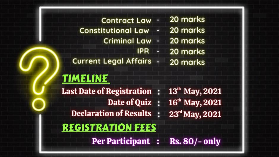 VIDHI PARIVARTAN'S 1ST NATIONAL LEGAL QUIZ COMPETITION, 2021