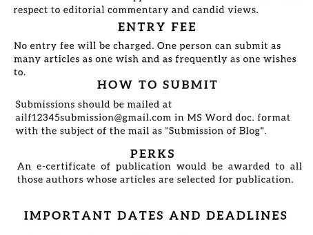 CALL FOR BLOGS: ALL INDIA LEGAL FORUM- NO SUBMISSION FEES; SUBMISSIONS ON A ROLLING BASIS