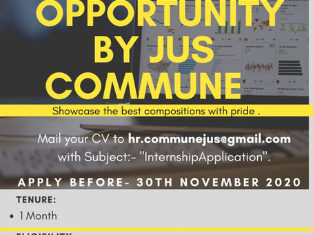 INTERNSHIP OPPORTUNITIES BY JUS COMMUNE: SEND YOUR APPLICATIONS BY 30TH NOVEMBER 2020