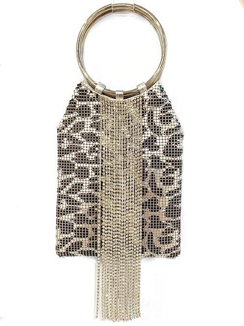 Leopard Silver CZ Handbag