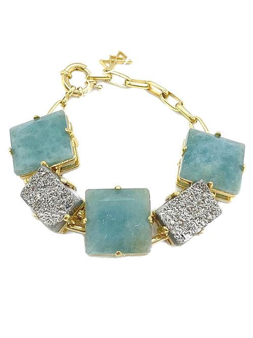 Maria Dolares Aqua and Silver Druzy Bracelet