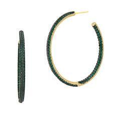 Freida Rothman Midnight Emerald Pave Hoop