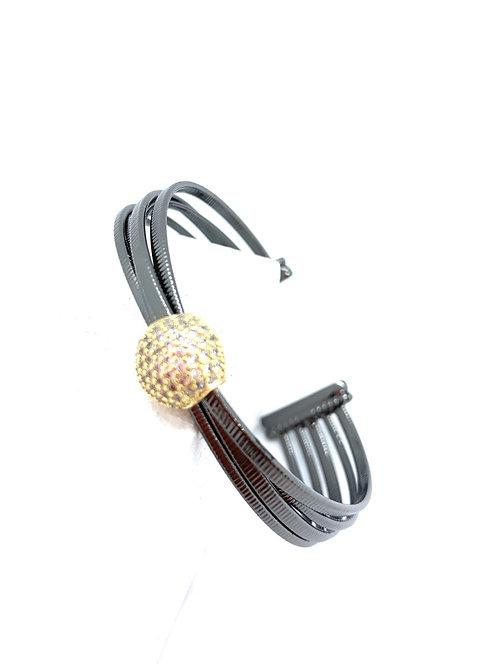 Disco ball rhodium bracelet