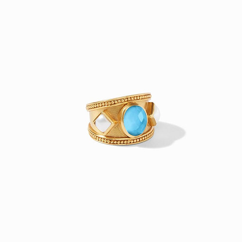 Julie Vos Loire Stone Ring Iridescent Pacific Blue