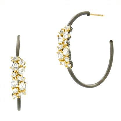 Freida Rothman Midnight I Embellished Hoop Earring