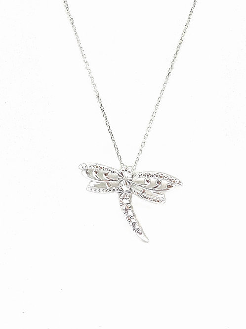 Sterling Cz Dragonfly Pendant