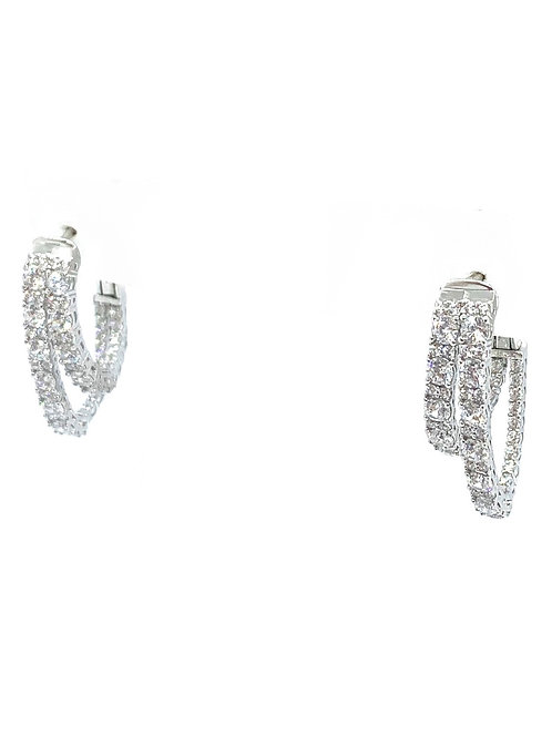 Sterling Double Cz Hoops