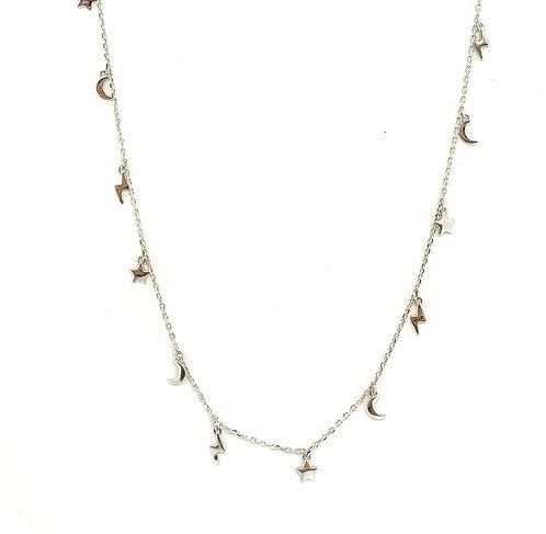 Sterling Star, Moon, Lightning Bolt Necklace
